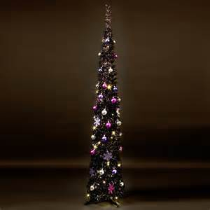 6ft black tinsel slim pre lit pop up christmas tree next day delivery 6ft black tinsel slim
