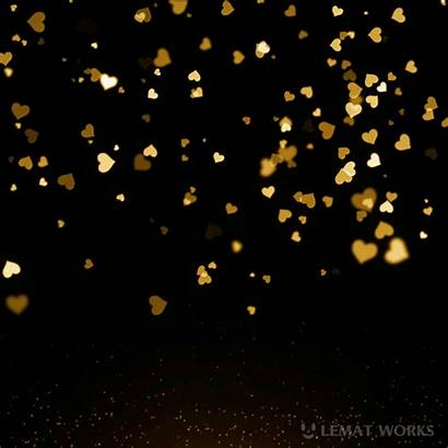 Background Gold Glitter Yellow Animated Hearts Heart