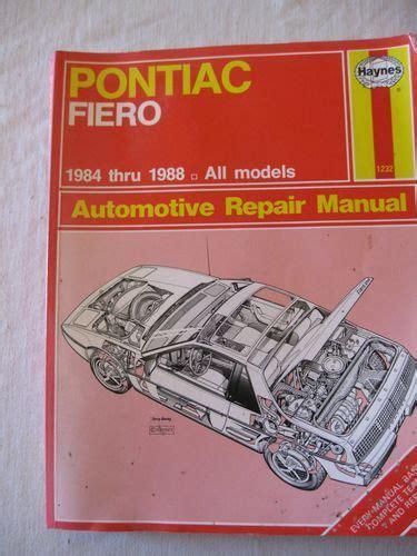 free online auto service manuals 1984 pontiac 6000 interior lighting haynes auto repair manual pontiac fiero 1984 thru 1988 service book 1232 ebay