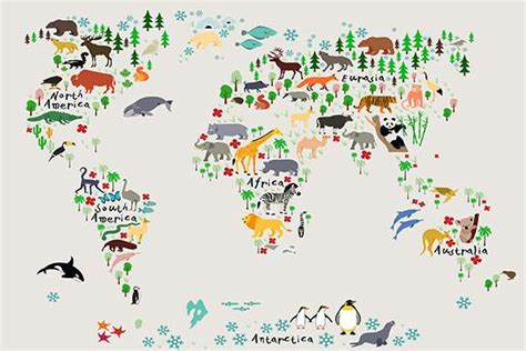 Animal Map Of The World Wallpaper - canvas large wall animal world map for room