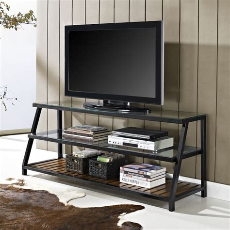 metal tv stands entertainment console espresso tv