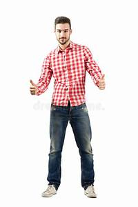 Young Casual Guy In Plaid Shirt With Thumbs Up Gesture ...