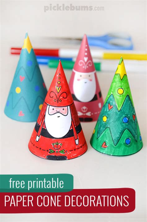 free printable christmas decorations paper cone decorations free printable picklebums