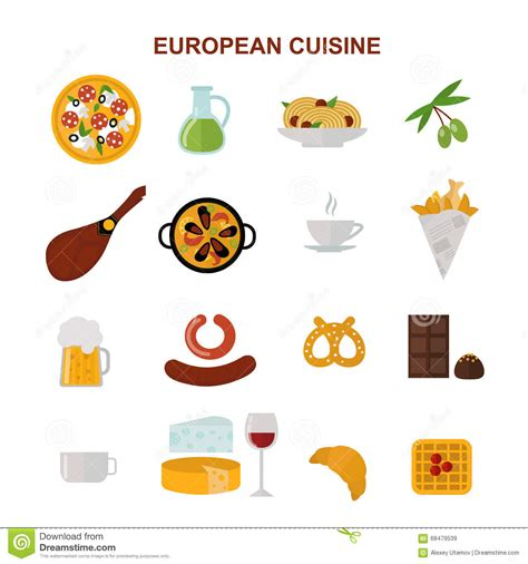 illustration cuisine top view showing european food and delicious elements flat vector illustration stock vector