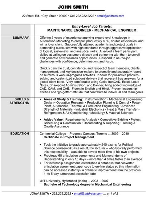 Mechanical Maintenance Engineer Cv by Maintenance Or Mechanical Engineer Resume Template Want