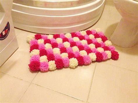 pink collorful pom poms bath mat bathroom rug  nesrinart