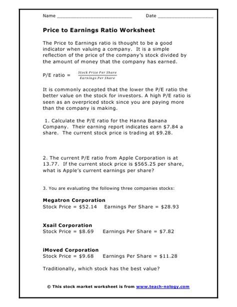 price  earnings ratio worksheet