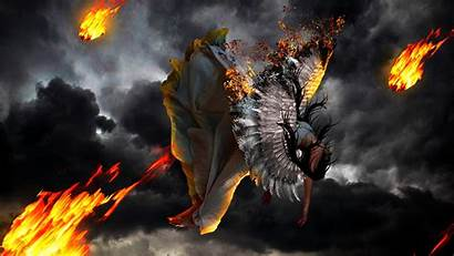 Wings Fire Wallpapers Fall Falling Angels Fantasy