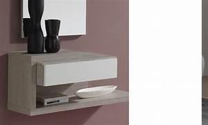Meuble Entree Blanc : meuble d 39 entr e avec miroir blanc et pin contemporain derain ~ Teatrodelosmanantiales.com Idées de Décoration