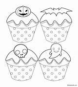 Coloring Halloween Cupcake Cartoon Babadoodle Bat Ghost Cool Pumpkin Printable Children Skeleton Jack sketch template