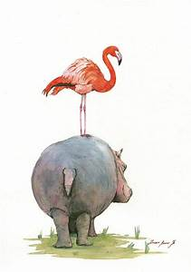 Hippo With Flamingo Painting by Juan Bosco
