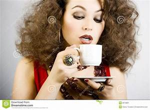 Beautiful Woman Drinking Coffee Stock Image - Image: 8272861