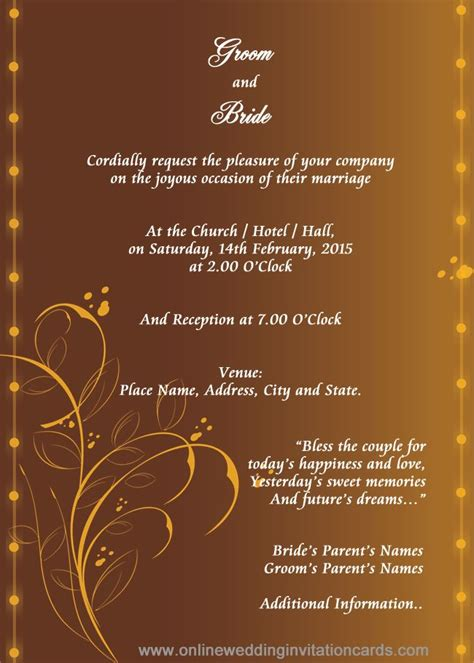 Marriage Invitation Card Template in 2019 Marriage