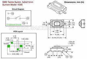 Smd Tactile Switch  3x6x2 5mm  4388    Sunrom Electronics  Technologies