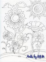 Flowers Posies Doodle sketch template