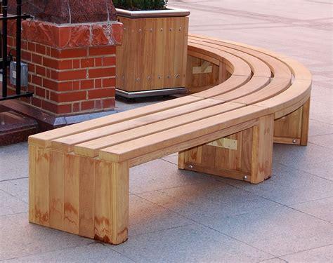 curved wooden bench  garden  patio homesfeed