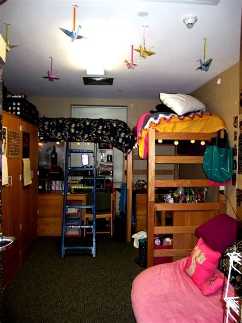 lofted double college dorm room nice cranes coming from the ceiling and layout dorm style
