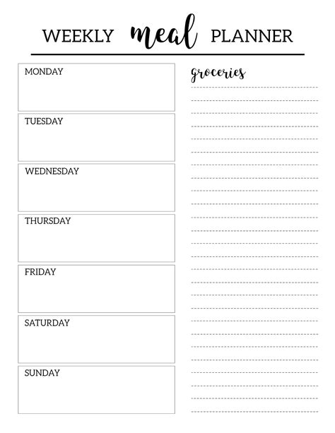 December Meal Planner Template by Free Printable Meal Planner Template Organization