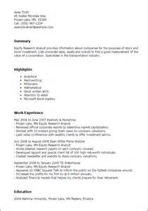 research analyst resume sle writing introductions for buy side research analyst resume