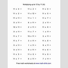36 Horizontal Multiplication Facts Questions  11 By 012 (a