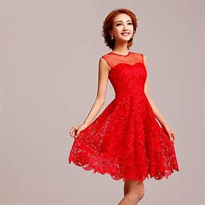 sleeveless chinese red short floral lace wedding dress With short red wedding dresses