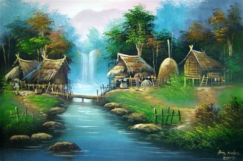 oriental paintings  log bridge