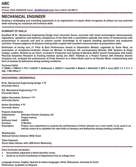 Mechanical Quality Experience Resume by Mechanical Engineer Resume For Fresher Mechanical