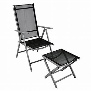 Klappstuhl gartenstuhl campingstuhl liegestuhl mit hocker for Französischer balkon mit garten hocker klappbar