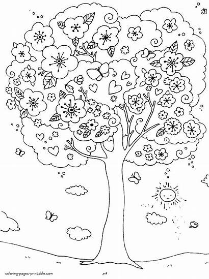 Coloring Spring Pages Tree Outdoor Activities Printable