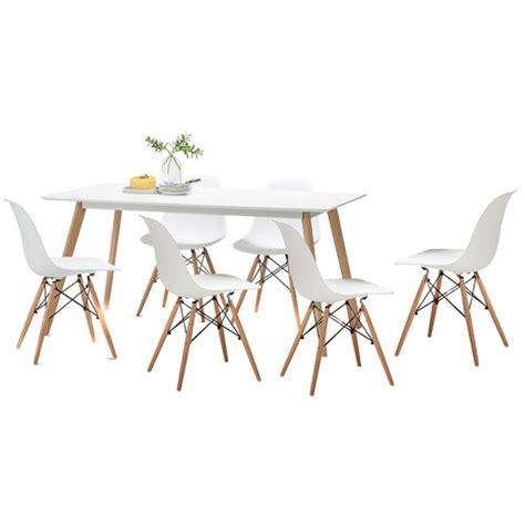 white scandi dining table set   white replica eames