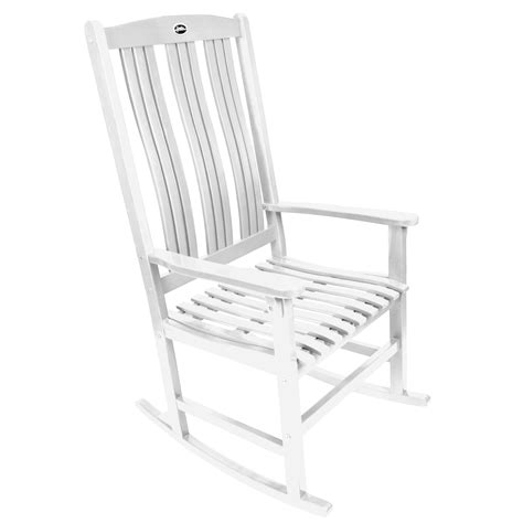 shop white wood slat seat outdoor rocking chair at lowes