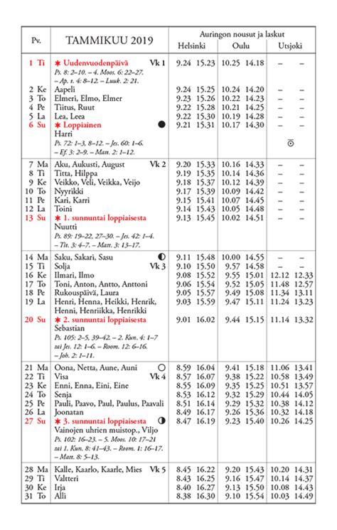 kalenteri vuodelle  yliopiston almanakkatoimisto