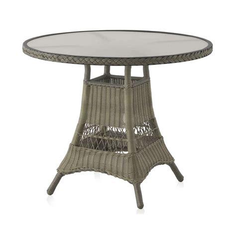Table Ronde De Jardin 90 Cm Aluminium Et Résine Tressée