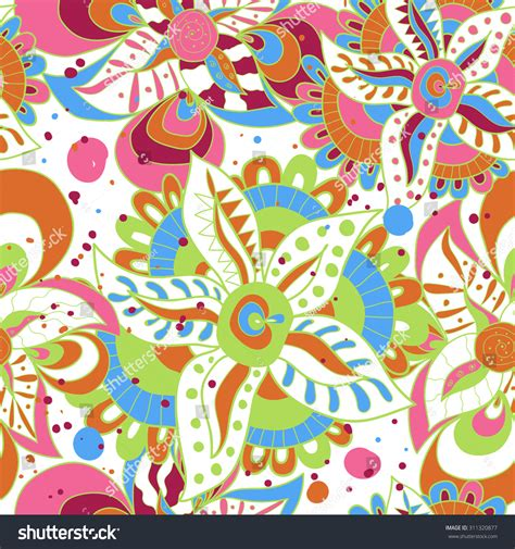 abstract colorful psychedelic floral seamless pattern