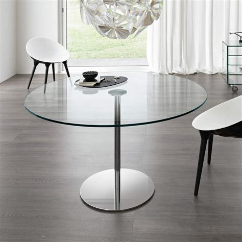 Farniente Round Glass and Metal Dining Table by Tonelli