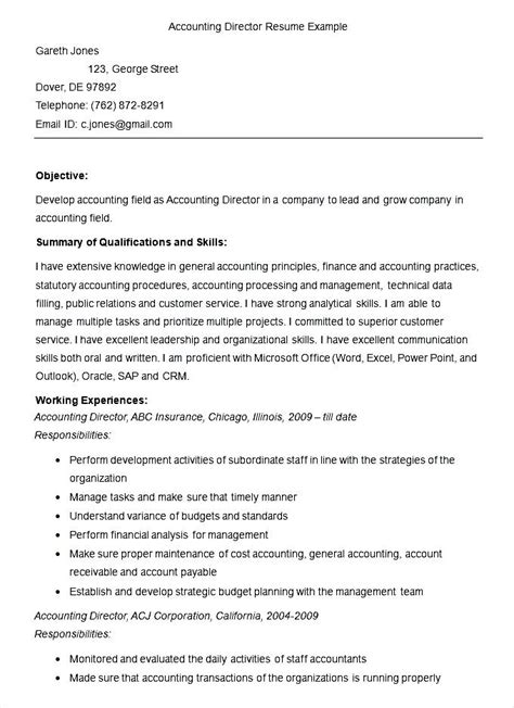 Director Of Accounting Resume Exles by Sle Accounting Director Resume Template Free Sles Exles Format Resume
