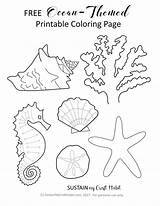 Ocean Coloring Themed Printable Craft Sustainmycrafthabit Pages Paper Crafts Colouring Sheets Theme Printables Leave Themes Using Beach Personal sketch template