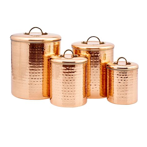 canister kitchen copper hammered canister set of four