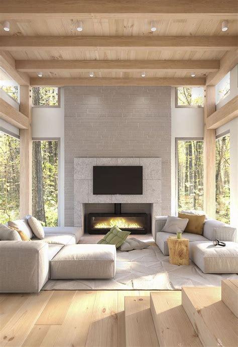 spacious modern living room wood ceiling  exposed