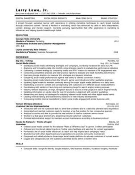 Resume Social Media Skills Exle by Resumes Profile Marketing Project Manager Resume And Cv Templates Marketing Project