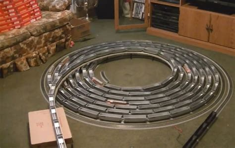addictive watching model train travel  endless spiral
