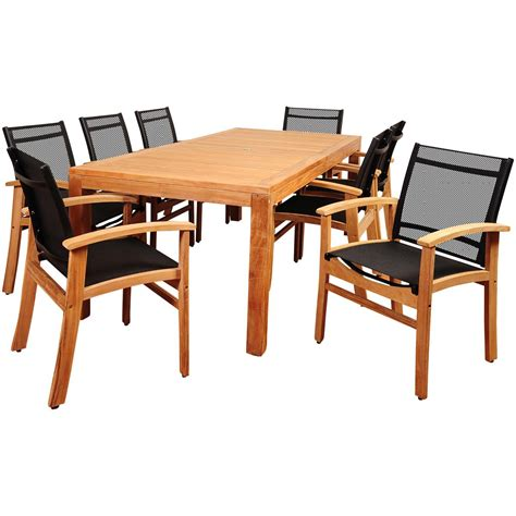 8 person rectangular patio table amazonia terrace 8 person sling patio dining set with teak