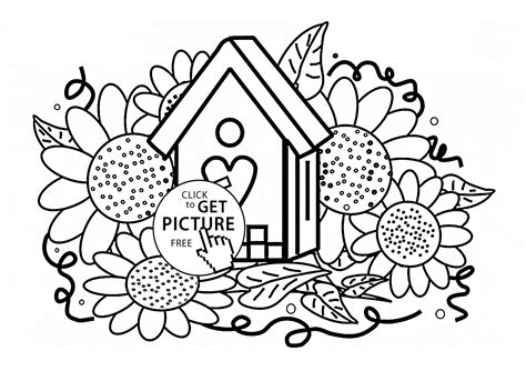 Birdhouse And Sunflowers Coloring Page For Kids, Flower