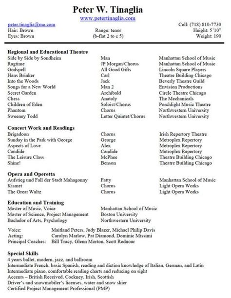 Theater Resume Exle by Musical Theatre Resume Template Template In 2019