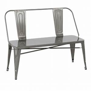 Oregon, Industrial, Metal, Dining, Entryway, Bench, In, Clear, Brushed, Silver, By, Lumisource
