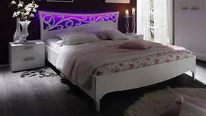 Lit Baroque Blanc : lit blanc laqu lumineux 160x200 cm baroque avec led lola gdegdesign ~ Teatrodelosmanantiales.com Idées de Décoration