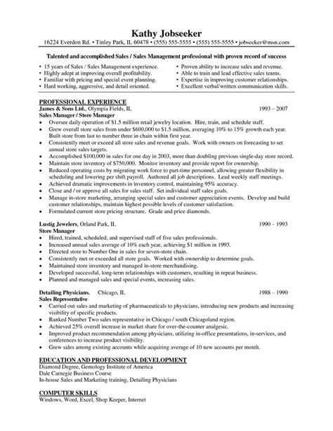 Retail Store Manager Resume Cover Letter by Resume Exles For Retail Store Manager Sle Cover