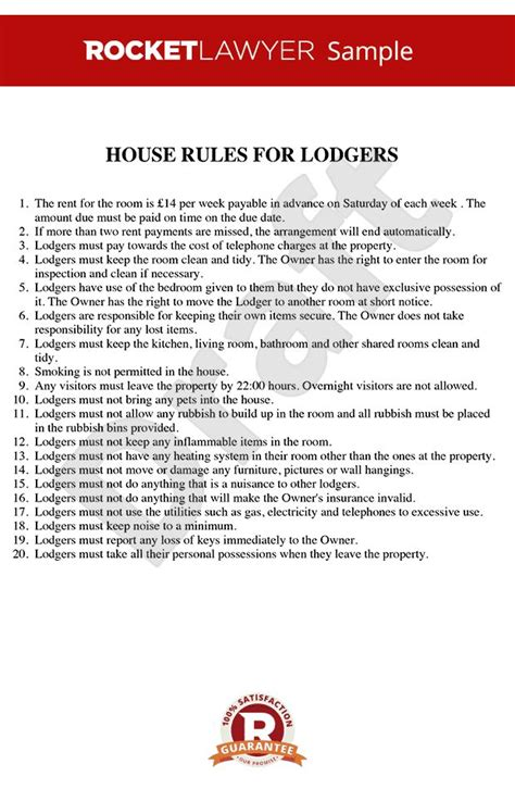 house rules  renting  room house rules template