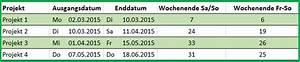 Excel Wochentag Berechnen : excel datum differenz funktion nettoarbeitstage intl berechnen ~ Themetempest.com Abrechnung