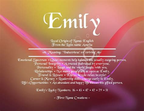 Meaning Of The Word by Origin And Meaning Of The Name Emily Emily Name Meaning
